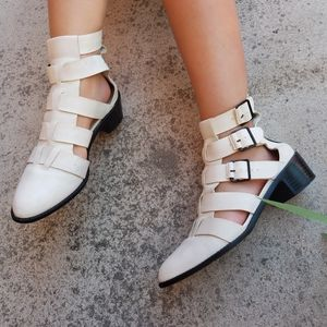 Loeffler Randall White Cage Style Buckle Boots S3